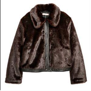H&M faux fur brown jacket